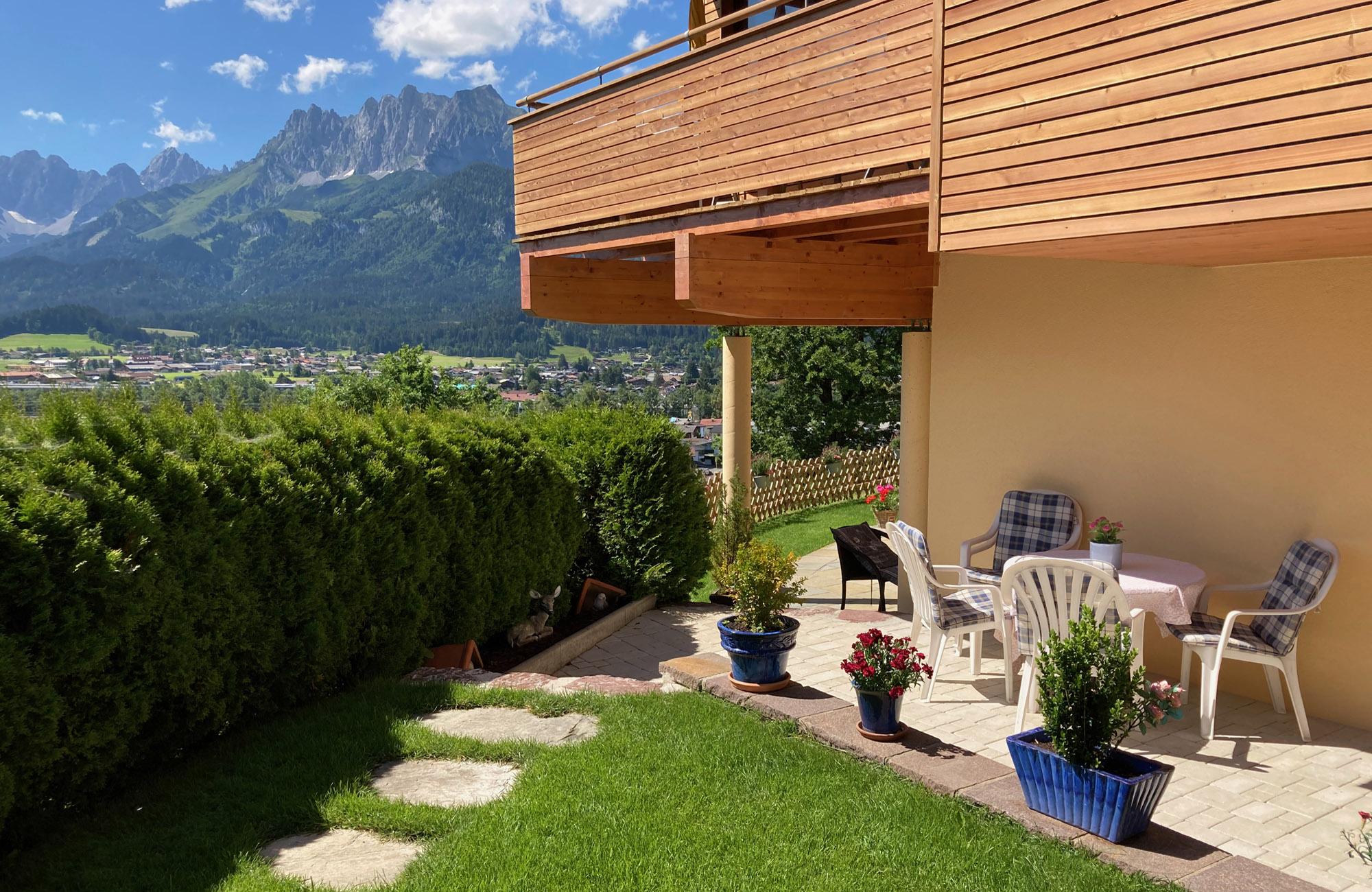 Familienfreundliche Ferienwohnung Kalkstein im Aparthotel Sonnleitn mit Ausblick zum Wilden Kaiser 7